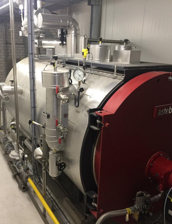Steuerung für Dampfkessel mit Gasbrenner in Molkerei